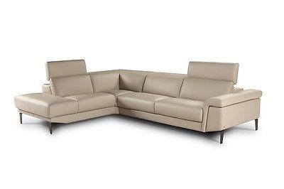J&M Sharon Full Top Grain Leather Italian Made Sectional Sofa Modern Left