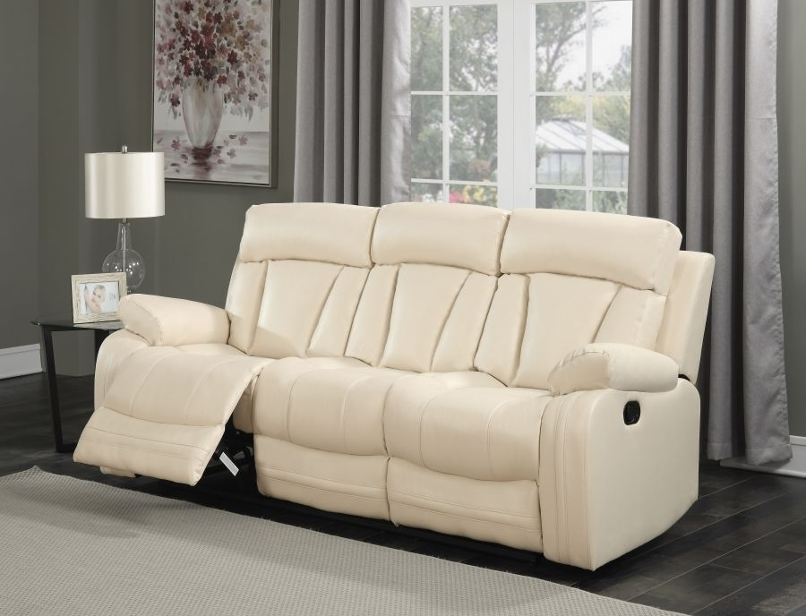 Meridian 645 Avery Living Room Set 2pcs in Beige Bonded Leather Contemporary