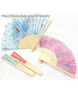 10 x Art Flowers Chinese Silk Folding Bamboo Hand Fan Fans Summer Weddin... - $9.99