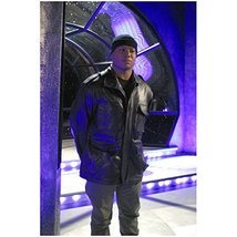 Stargate Christopher Judge as Teal'c in black leather jacket and hat 8 x... - $7.95