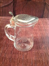Syrup Pitcher Vintage Clear Glass Flower Etched Metal Lid Pat 1914 - $30.59
