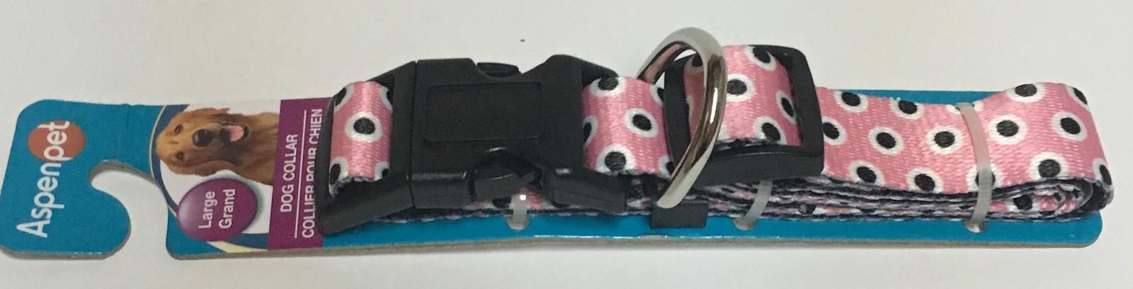 "Aspen Pet Large Dog Collar Pink & Black Polka Dot 16""-26"" Adjustable Nylon"