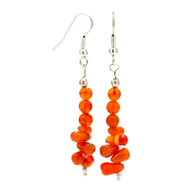 Carnelian Dangle Earrings, Semi-Precious Gemstone Handmade Jewelry- Myst... - $38.24