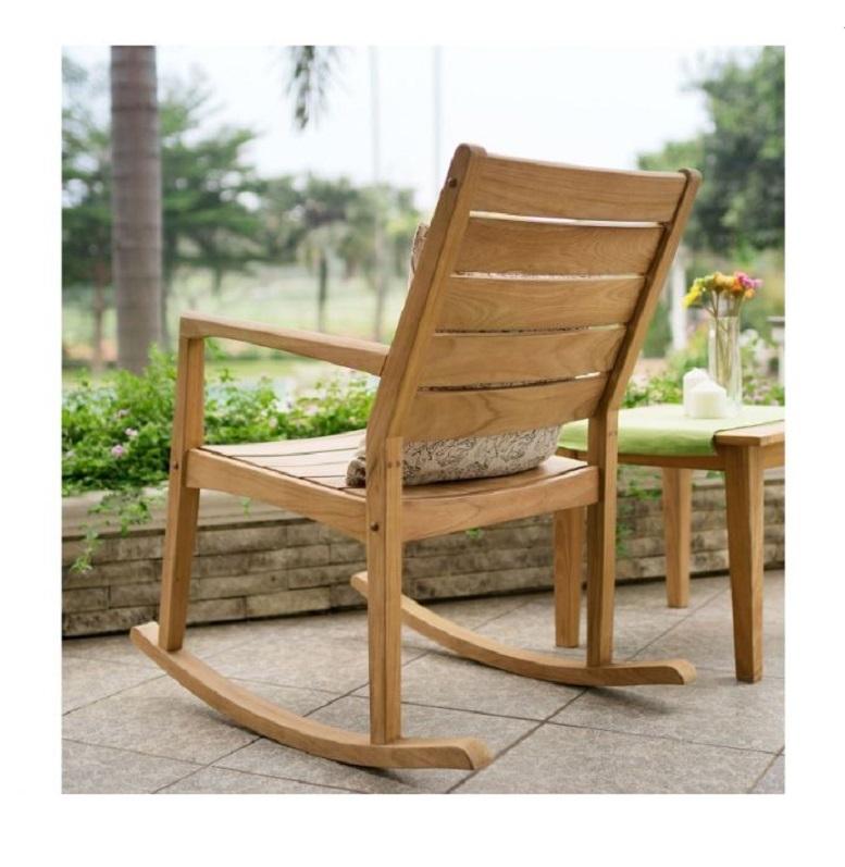 Teak wooden rocking chair indoor outdoor