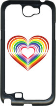 Valentine's Rainbow Heart Collage Samsung Galaxy Note II 2 Hard Case Cover - $13.95