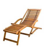 Garden Sun Lounger Patio Wooden Chair Foldable Lounge With Footrest Acac... - $161.99