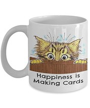 Ceramic Coffee Mug says Happiness is Making Cards - £6.97 GBP