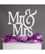 Mr. & Mrs. Modern Wedding Cake Topper - Mr Mrs Silver Rhinestone Monogram Decor - $19.95