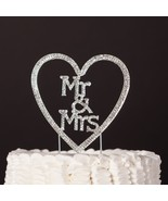 Mr & Mrs w/ Heart Wedding Cake Topper - Monogram Silver Metal Rhinestone Decor - $19.95