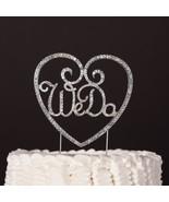 We Do w/ Heart Wedding Cake Topper - Monogram Silver Metal Rhinestone Decor - $19.95