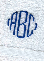 PACK OF 9 MONOGRAMMED  WHITE HAND TOWELS/ GRANDEUR HOSPITALITY / 100%COTTON - $41.58