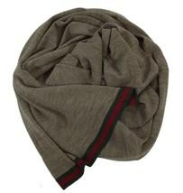 NWT GUCCI 327377 Men's Web Stripe 100% Wool Scarf Muffler, Brown - $197.10