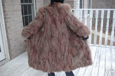 Fab Designer Full Length Rose brown Fox Fur coat jacket bolero stroller S-M, 2-9