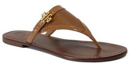 NIB TORY BURCH Eloise Patent Leather Flat Thong Sandal, Brown Size 7.5 - $197.10