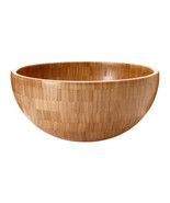 "BAMBOO Serving Salad Bowl 11"" Diameter IKEA Blanda Matt Wood- Brand NEW - £30.68 GBP"