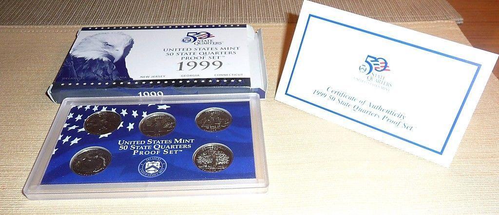 COA in Original Box Mint 5-Quarter Proof Set 1999-S U.S First State Quarters
