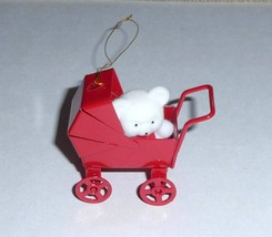 Avon Ornament - White Teddy Bear in Metal Baby Carriage - $10.00