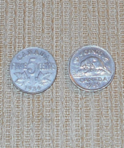 Canada Two 5 Cent Coins - 1934 and 1939 - $10.00