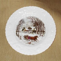 "Currier & Ives Winter Scene 8"" Plate - Queen's Bone China, England Rosin... - $25.00"