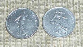 France - Two 1 Franc Coins Dated 1960 - $8.00