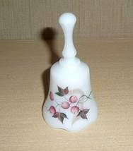 "Fenton Winterberry White Satin 4 1/2"" Petite Bell (1987-1988), Signed - $25.00"