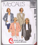 McCalls 8083 Misses Lined or Unlined Jacket - S... - $4.00