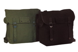 JUMBO Olive Drab Black Canvas Military Musette Haversack Shoulder Bag Ba... - $18.98