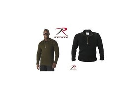 OLIVE DRAB GREEN BLACK 1/4 ZIP ACRYLIC US MILITARY ARMY MARINES COMMANDO... - $39.59+