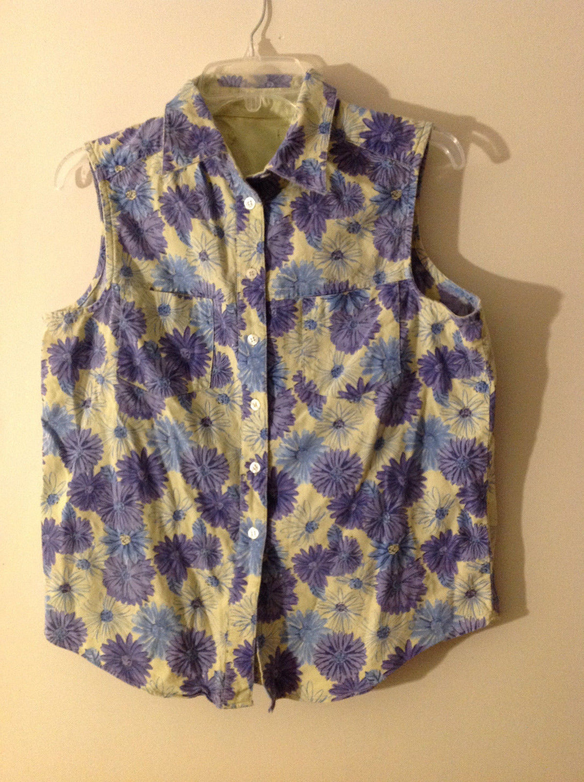 No Tags Women's Size L Vest Light Pistachio Green w/ Blue & Purple Floral Print