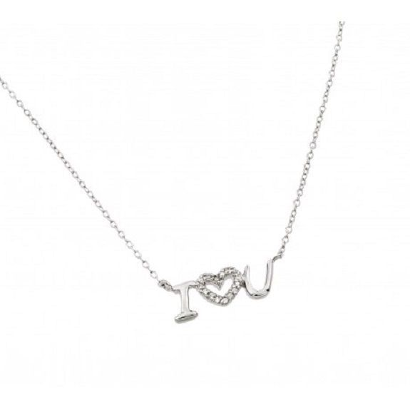 "925 Sterling Silver Rhodium Plated Clear CZ "" I love You"" Pendant Necklace"