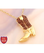 """18K Yellow Gold over Solid 925 Sterling Silver """"Cowgirl Boot"""" & Genuine ... - $39.00"""
