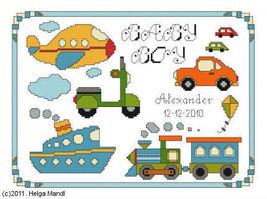 Baby Boy Birth Sampler PDF cross stitch charts Helga Mandl  - $7.00