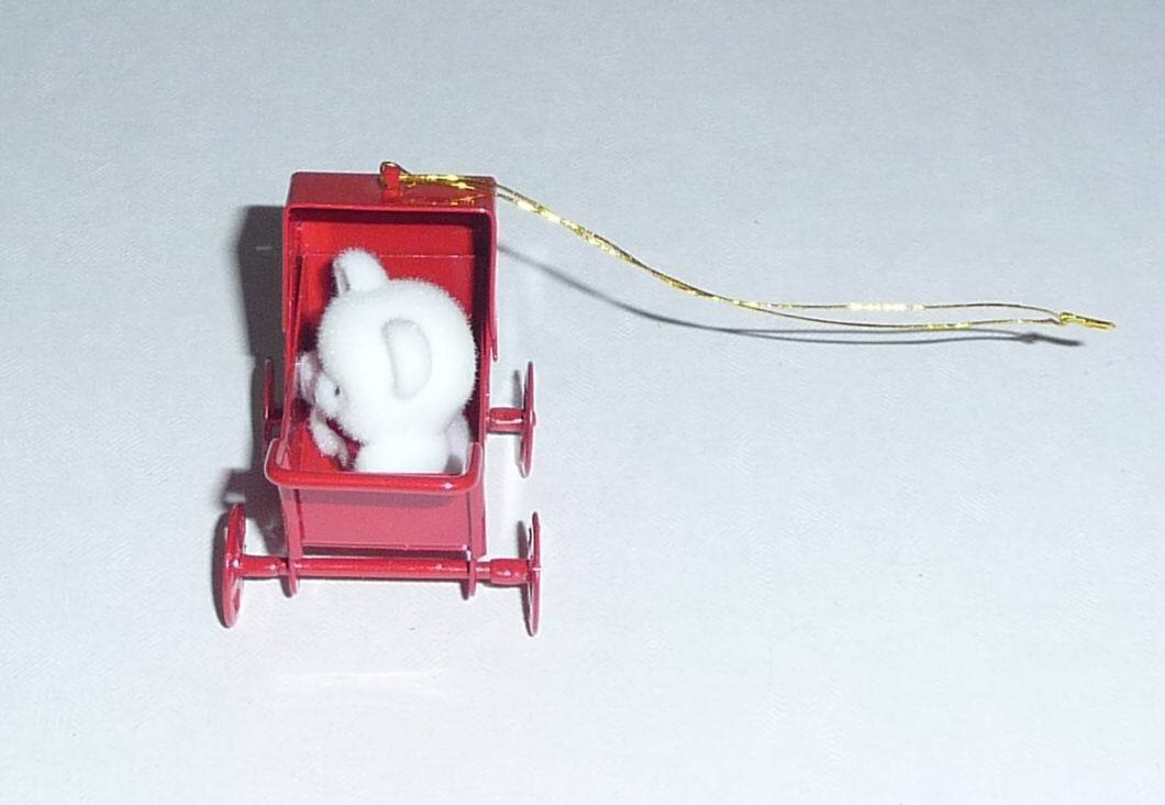 Avon Ornament - White Teddy Bear in Metal Baby Carriage
