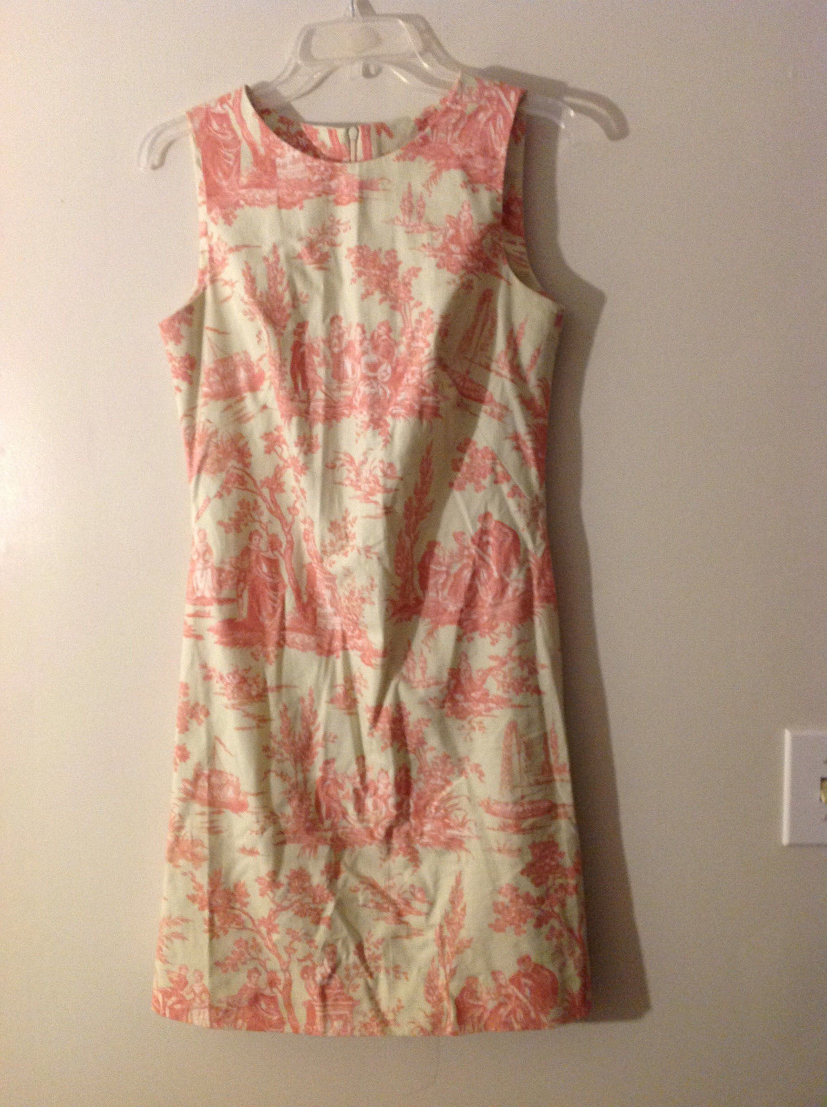 No Tag Women Size S Sleeveless Dress Sheath Pale Yellow Green Pink Novelty Print