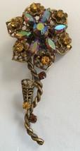 Vintage West Germany Rhinestone Flower Pin Goldtone Filigree Brooch - $31.87