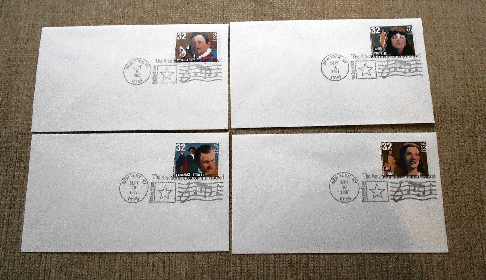 Set of 4 First Day Covers - 1997 Opera Singers - American Music Stamp Festival