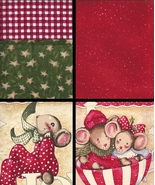 Merry Mice Bundle, 2 Large Squares and Complime... - $14.78