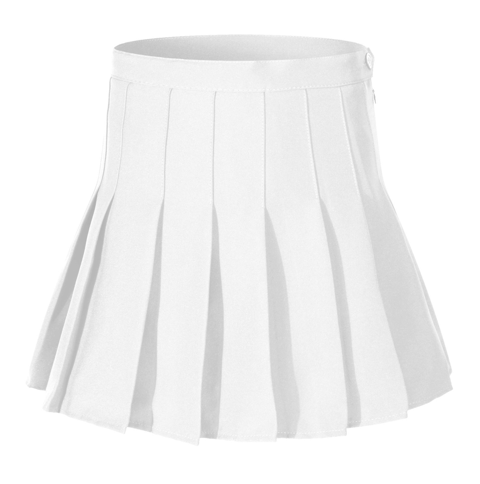 Girl`s High Waist Solid Pleated Mini Slim Single Tennis Skirts ( XS, White)