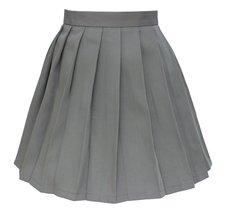 Women`s School Uniform High Waist Flat Pleated Skirts (4XL ,Dark grey) - $24.74