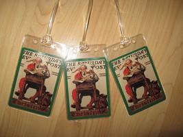 Christmas Luggage Tags - Saturday Evening Post Santa Claus Xmas Grn Tag ... - $19.78