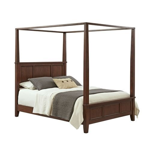 King size Modern Classic Canopy Bed in Cherry Wood Finish ...