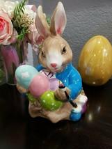 Blue Sky Clayworks 2005 Easter Bunny Wheelbarrow Egg Trinket Box Figurine - $39.99