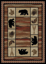 "4x6 (3'11"" x 5'3"") Lodge Cabin Rustic Bear Pine Fish Area Rug  **FREE SH... - $69.00"