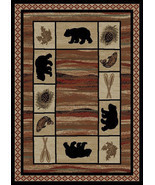 "4x6 (3'11"" x 5'3"") Lodge Cabin Rustic Bear Pine Fish Area Rug  **FREE SH... - ₨4,981.24 INR"