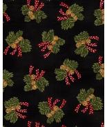 1 FQ Moda Jingle Bells, Red Ribbon, Pine Boughs... - $4.48