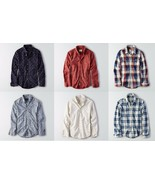 American Eagle Outfitters HERREN Aufdruck Knopf Down & Popelin Popover H... - $34.95