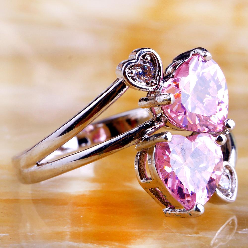 Lady Heart Pink Topaz Sapphire Jewelry Fashion Women