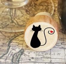Wine Stopper, Silhouette Cat Handmade Wood Bottle Stopper, Cat Gift Style 2 - $8.86