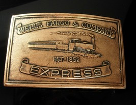 Wells Fargo Buckle Train Express Vintage wild west Western vintage gold ... - $75.00