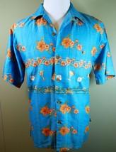 JOE MARLIN Mens Hawaiian Camp Shirt Short Sleeve Button Down Hibiscus Co... - $24.26